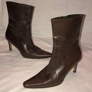 COLE HAAN Dark Brown Leather Zip High Ankle Boots